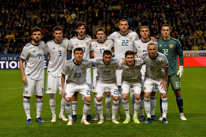 Equipe de futebol nacional de Rússia antes da Suécia do fósforo de liga das nações do UEFA contra Rússia imagem de stock