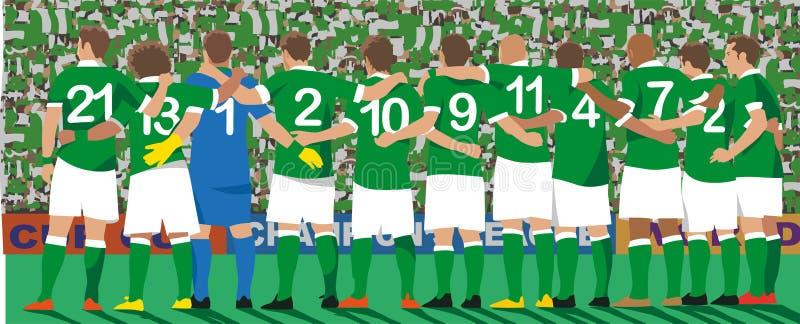 Equipe de futebol uniforme verde ilustração do vetor