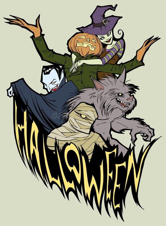Equipe de Halloween ilustração stock