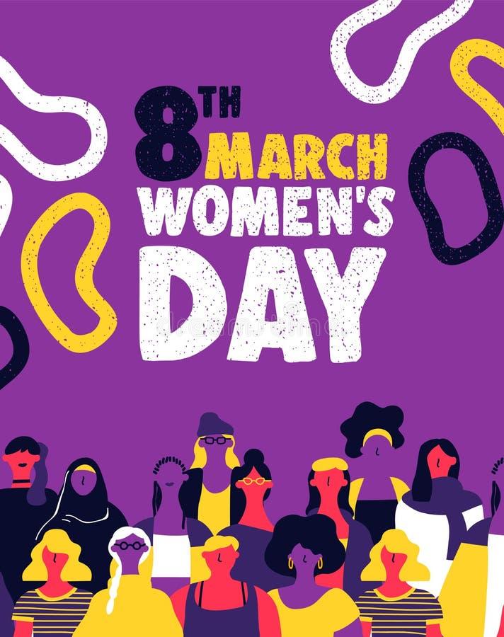 Equipe de mulher diversa do dia das mulheres para direitos iguais ilustração do vetor