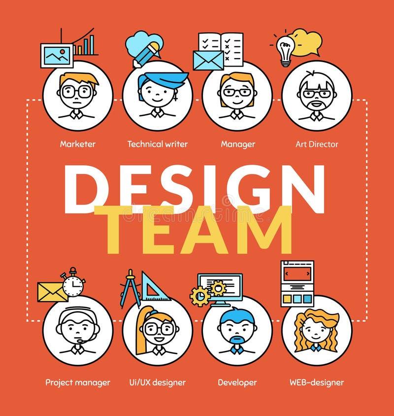 Equipe de projeto Vector conceitos da comunidade da equipe com ícones do perfil ilustração stock