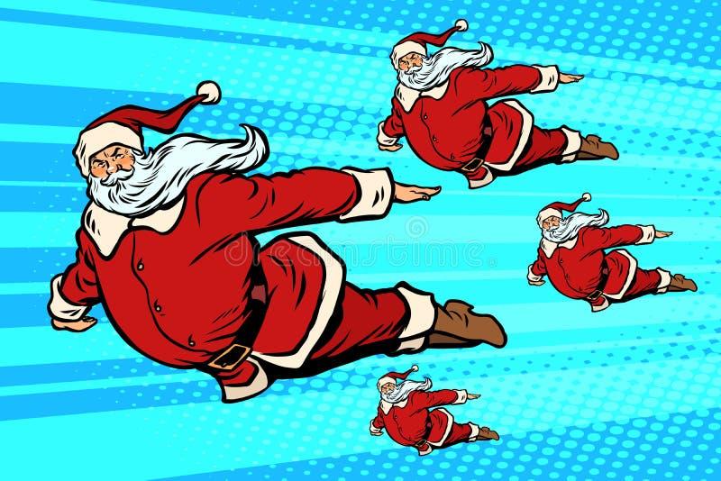 A equipe de Santa está voando no céu ilustração royalty free