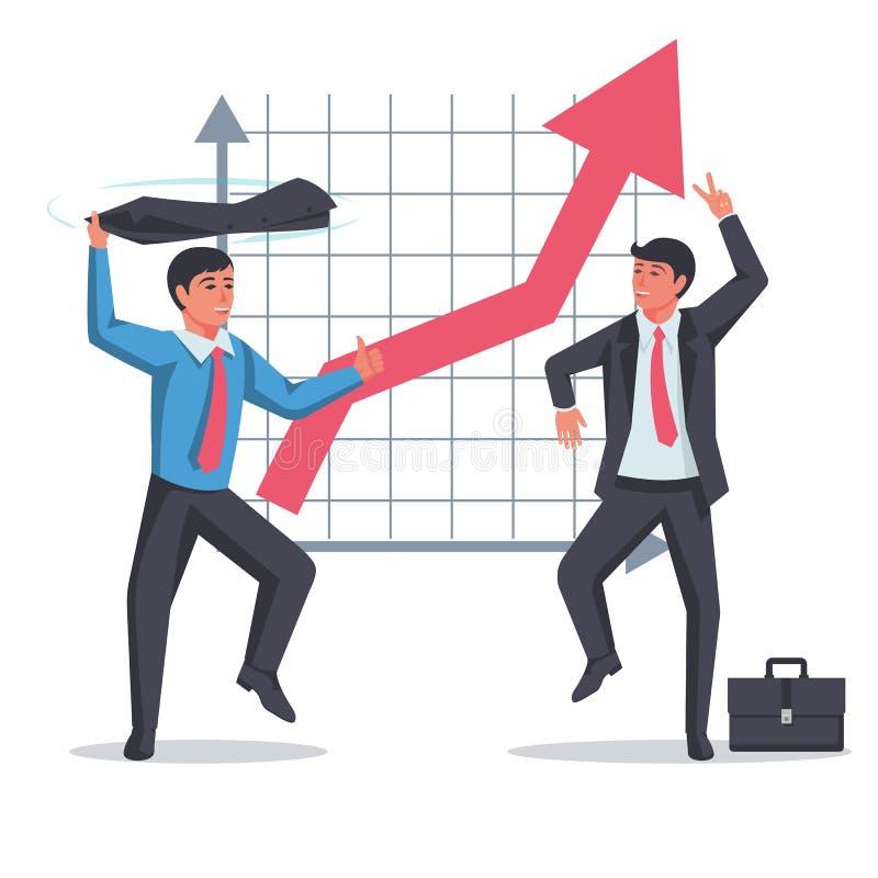 Equipe de sucesso se regozija com o plano de fundo de um gráfico em crescimento ilustração do vetor