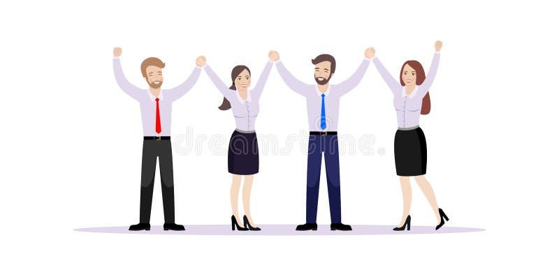 A equipe de trabalhadores de escritório, guardando as mãos, exulta no sucesso ilustração do vetor
