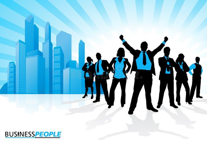 Equipe de vencimento do negócio contra a skyline da cidade ilustração royalty free