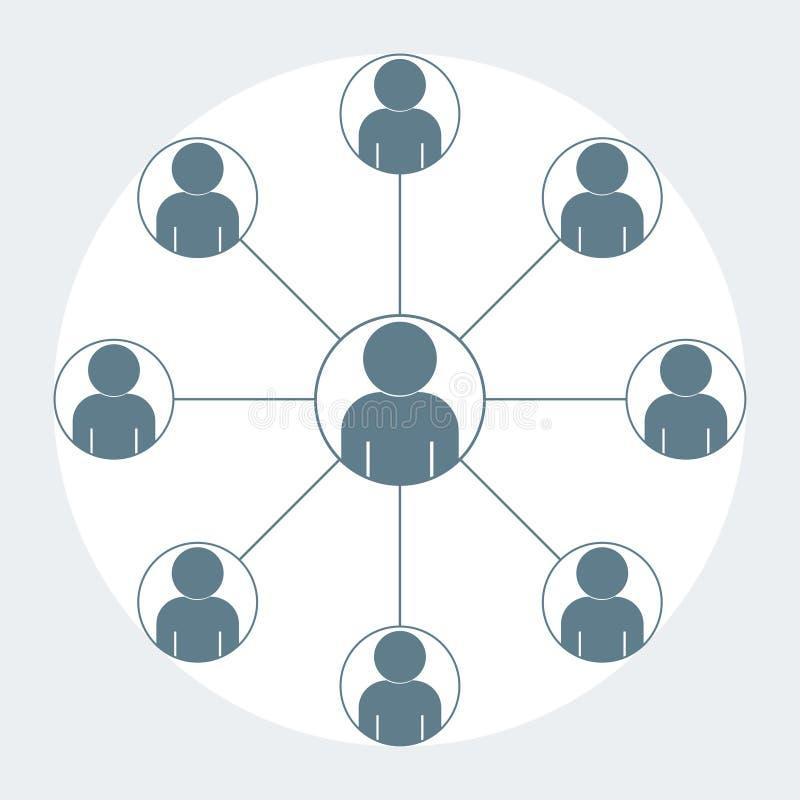 equipe do ícone da pessoa que trabalha o projeto cinzento da cor ilustração do vetor