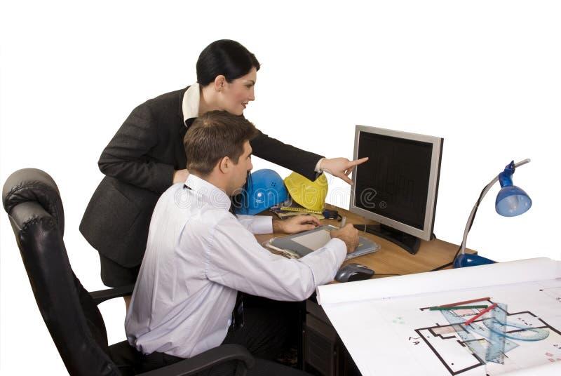 Equipe do arquiteto no escritório fotos de stock royalty free