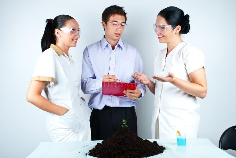 Equipe do biólogo que tem a discussão no laboratório imagens de stock royalty free