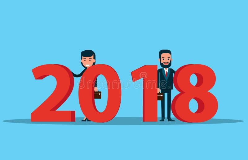 Equipe do corporaçõ e ano novo feliz 2018 Concep do negócio do vetor ilustração royalty free