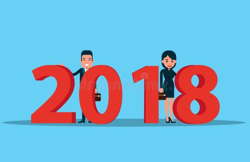 Equipe do corporaçõ e ano novo feliz 2018 Concep do negócio do vetor ilustração stock