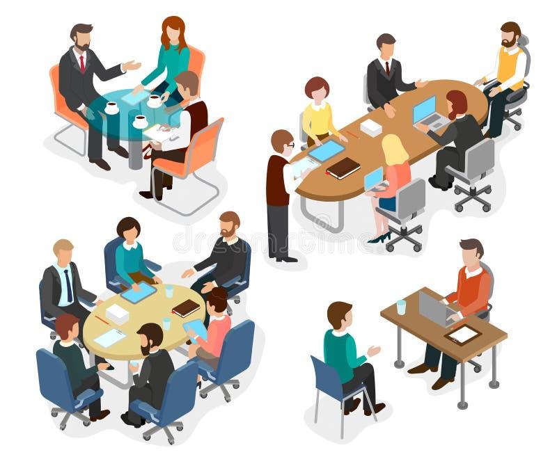 A equipe do escritório discutiu trabalhar perguntas na tabela ilustração royalty free