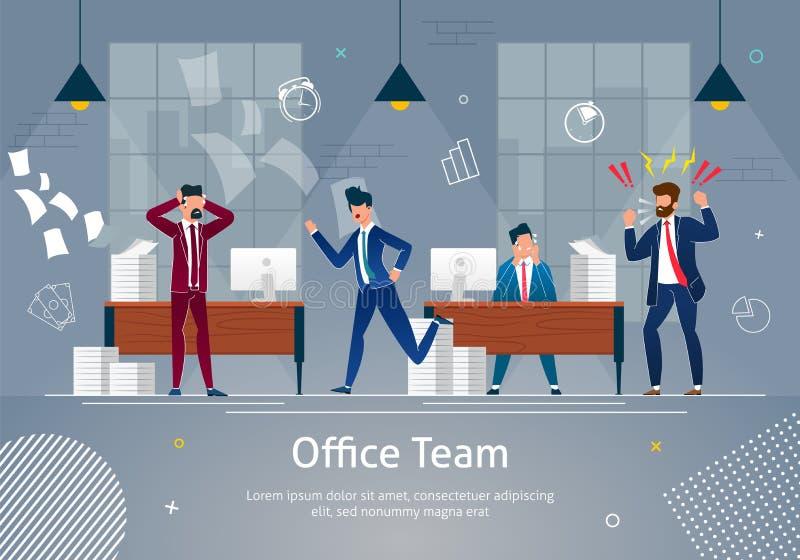 Equipe do escritório no pânico, caos na bandeira do local de trabalho ilustração stock