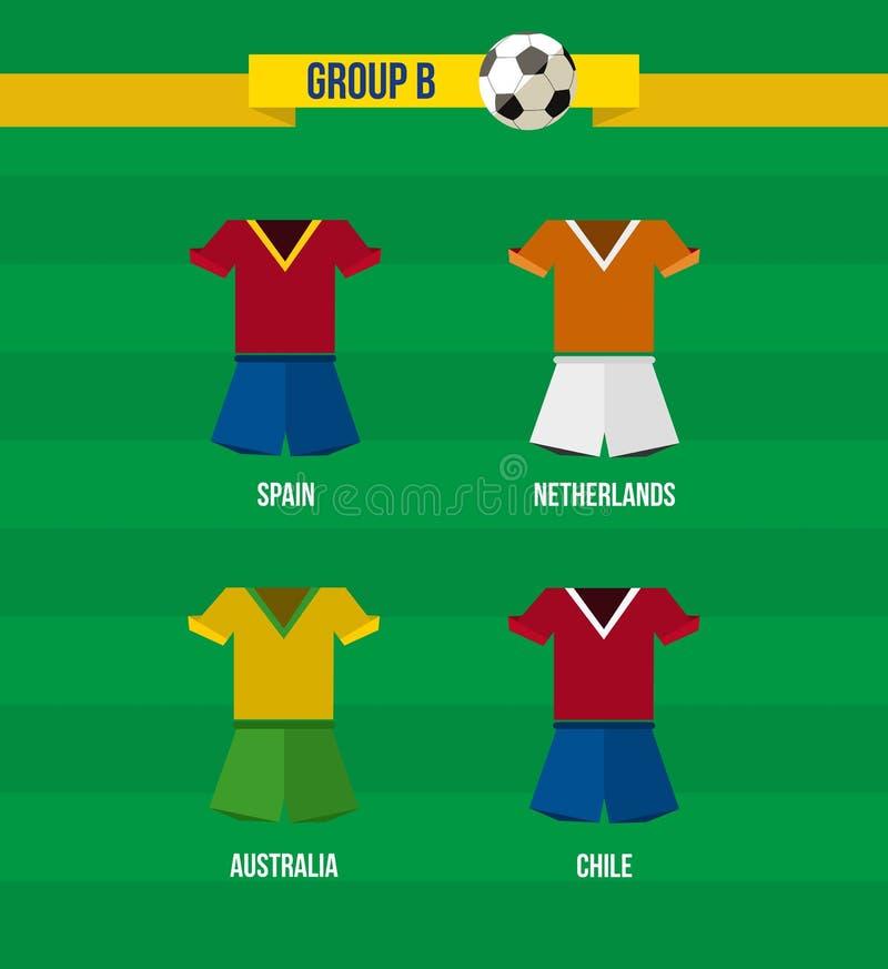 Equipe do grupo B do campeonato 2014 do futebol de Brasil ilustração stock
