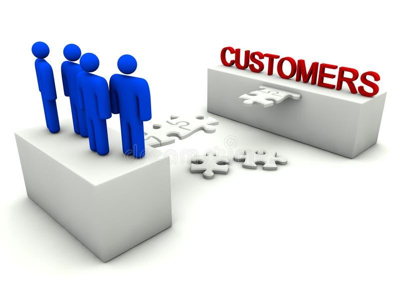A equipe do negócio é relacionamentos do cliente do edifício ilustração royalty free