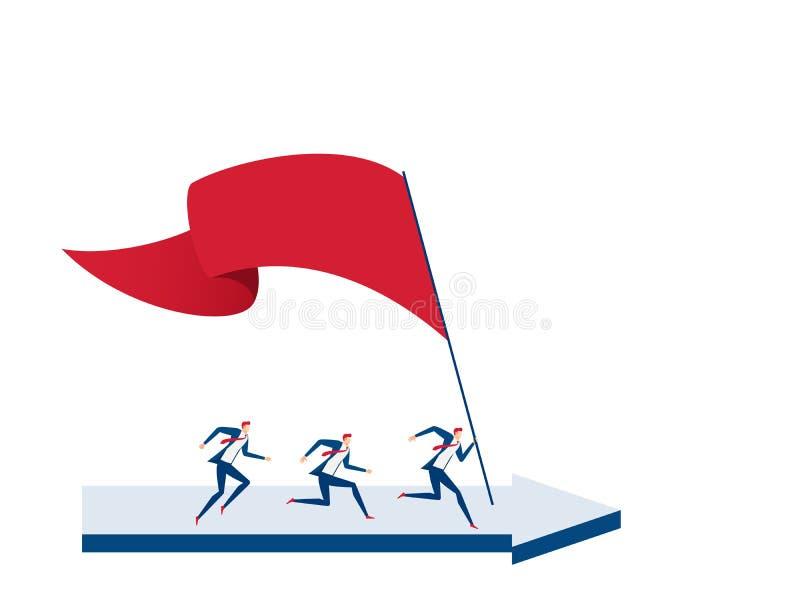 Equipe do negócio com a bandeira que corre no gráfico de aumentação para visar e no ponto do sucesso Esfera 3d diferente ilustração do vetor