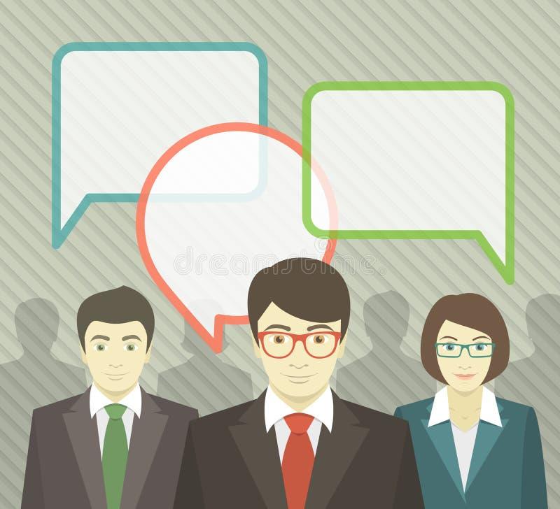 Equipe do negócio com bolhas do discurso ilustração stock