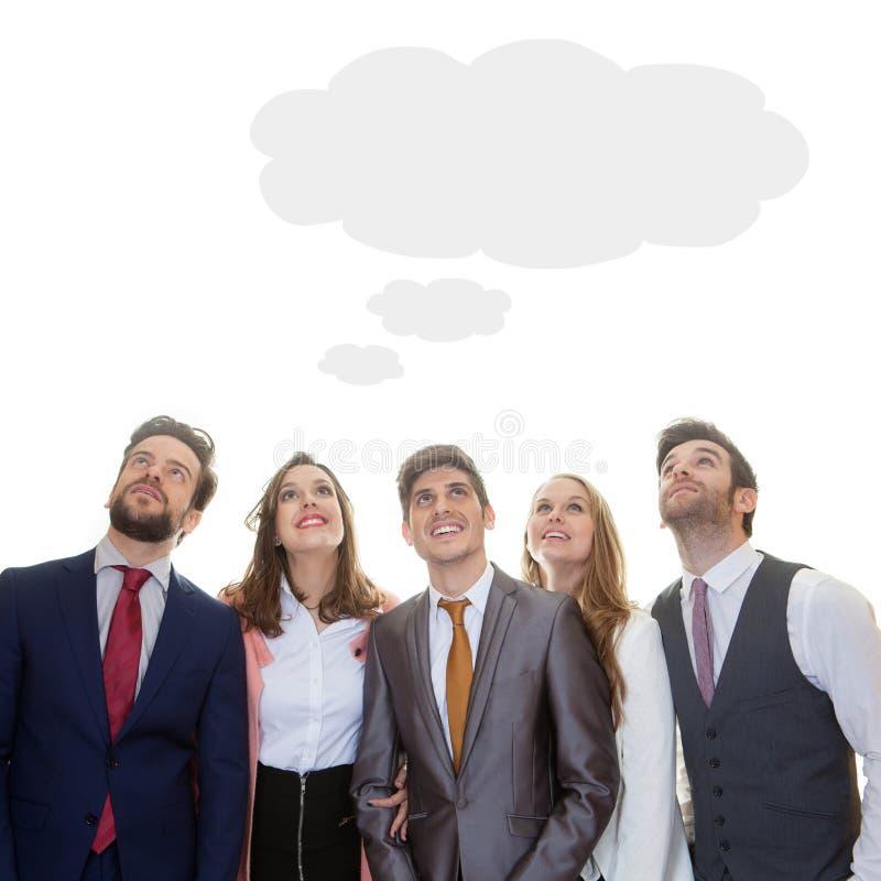 Equipe do negócio com a nuvem do pensamento das ideias imagens de stock royalty free