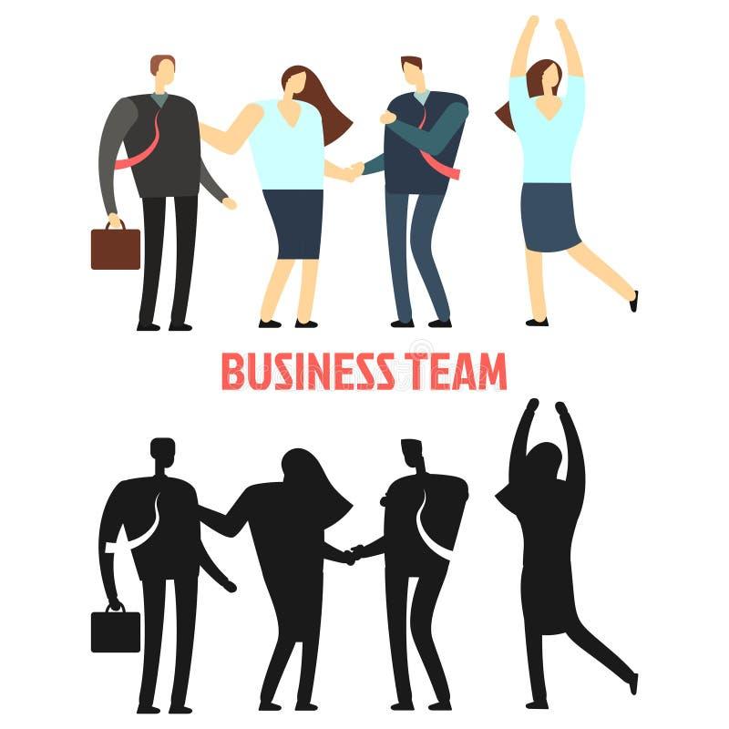 Equipe do negócio da mulher e do homem isolada no fundo branco ilustração do vetor