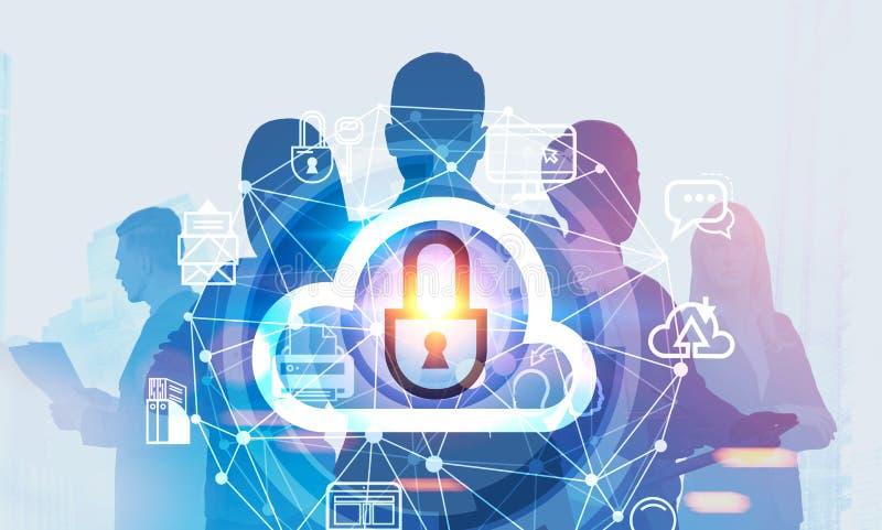Equipe do negócio e computador da nuvem ilustração royalty free