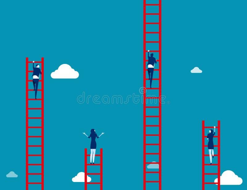 A equipe do negócio escala à escada Ilustração do vetor do negócio do conceito ilustração royalty free
