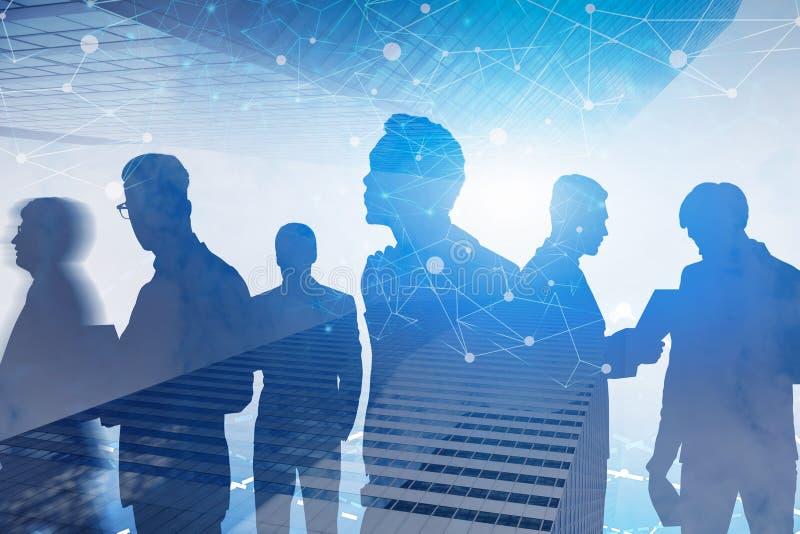 Equipe do negócio na cidade, interface de rede ilustração do vetor