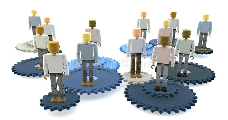 Equipe do negócio nas engrenagens ilustração do vetor