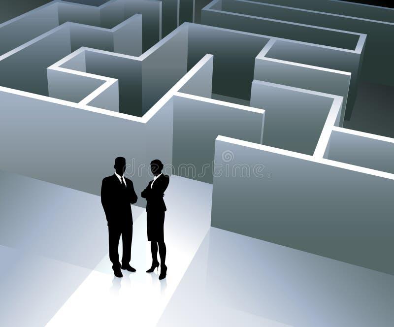 Equipe do negócio no fundo com labirinto ilustração do vetor