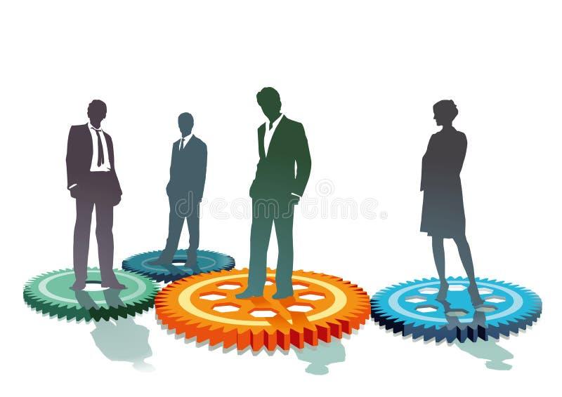 Equipe do negócio nos rotores ilustração stock