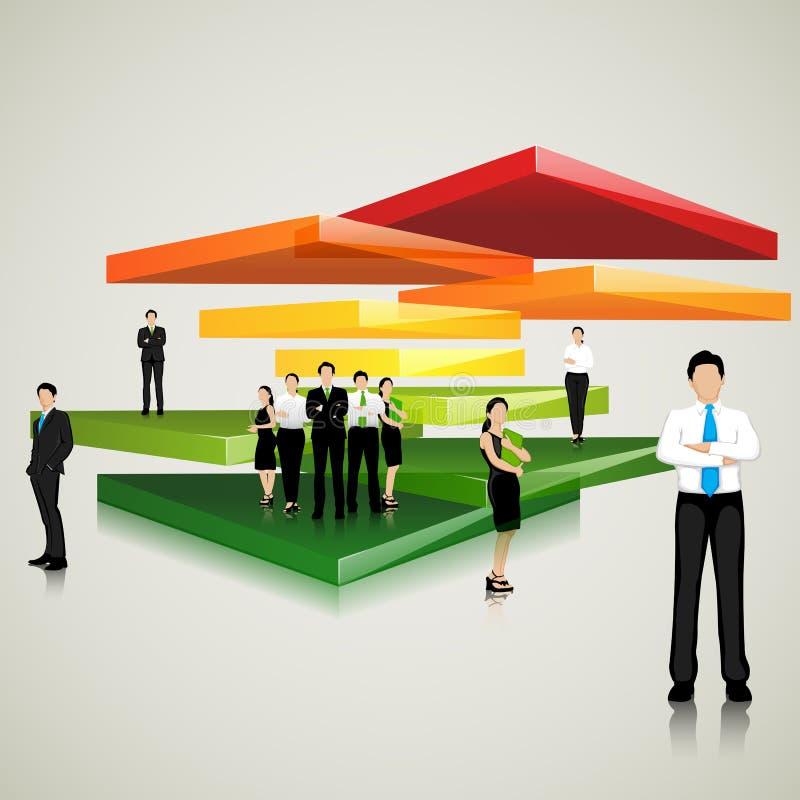 Equipe do negócio que está na laje colorida ilustração royalty free