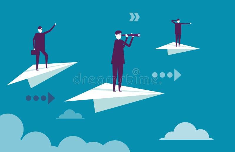 Equipe do negócio que está nos aviões de papel Ilustração b do vetor ilustração do vetor