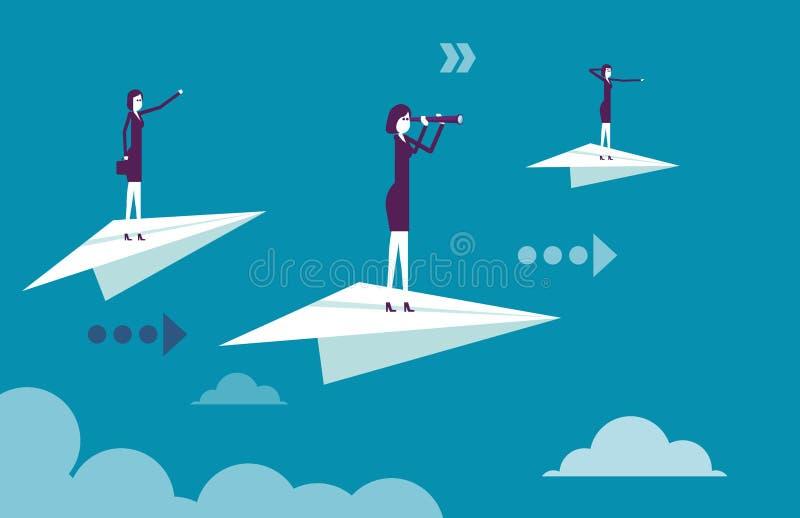 Equipe do negócio que está nos aviões de papel Ilustração b do vetor ilustração royalty free