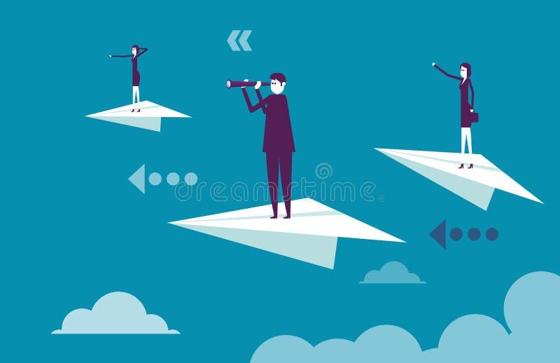 Equipe do negócio que está nos aviões de papel Ilustração b do vetor ilustração stock