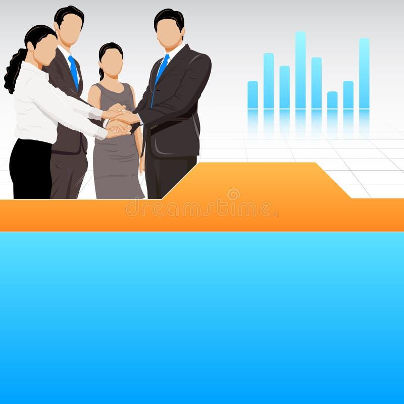 Equipe do negócio que mostra a unidade ilustração stock