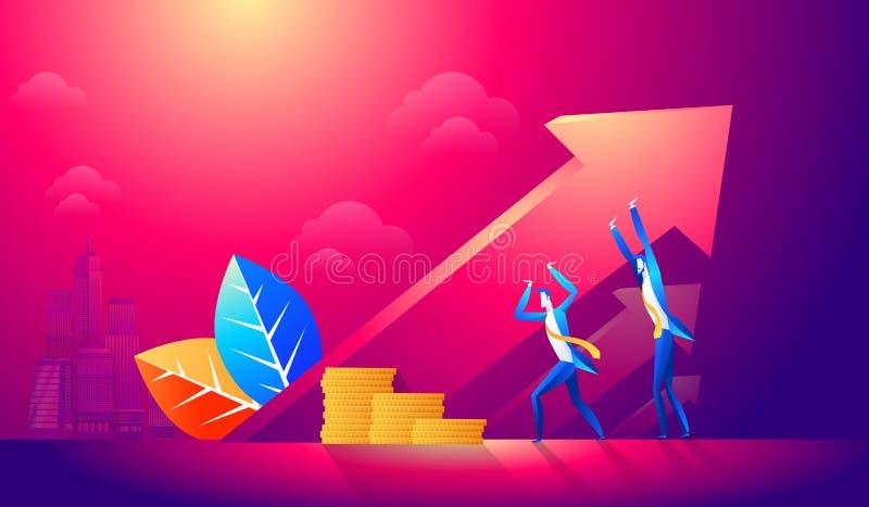 Equipe do negócio que sustenta a seta, representando o crescimento e o sucesso no negócio Ideia consultiva, do apoio e do negócio ilustração do vetor
