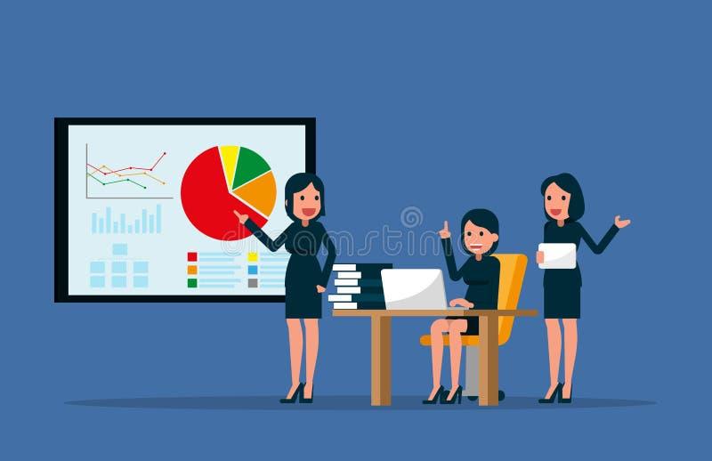 Equipe do negócio que trabalha junto no escritório Ilustração do vetor mim ilustração stock