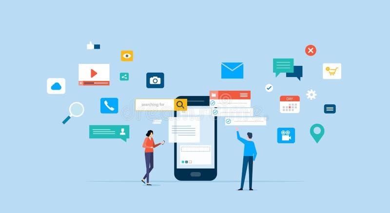 Equipe do negócio que trabalha para o desenvolvimento de aplicações móvel ilustração royalty free
