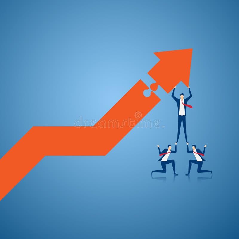 Equipe do negócio que usa escadas ao gráfico de construção do crescimento e preparando-se para o lucro grande Resolvendo o concei ilustração stock