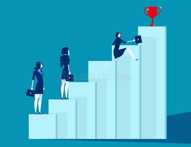A equipe do negócio supera obstáculos e consegue o sucesso Ilustração do vetor do negócio do conceito, estratégia, desenhos anima ilustração royalty free