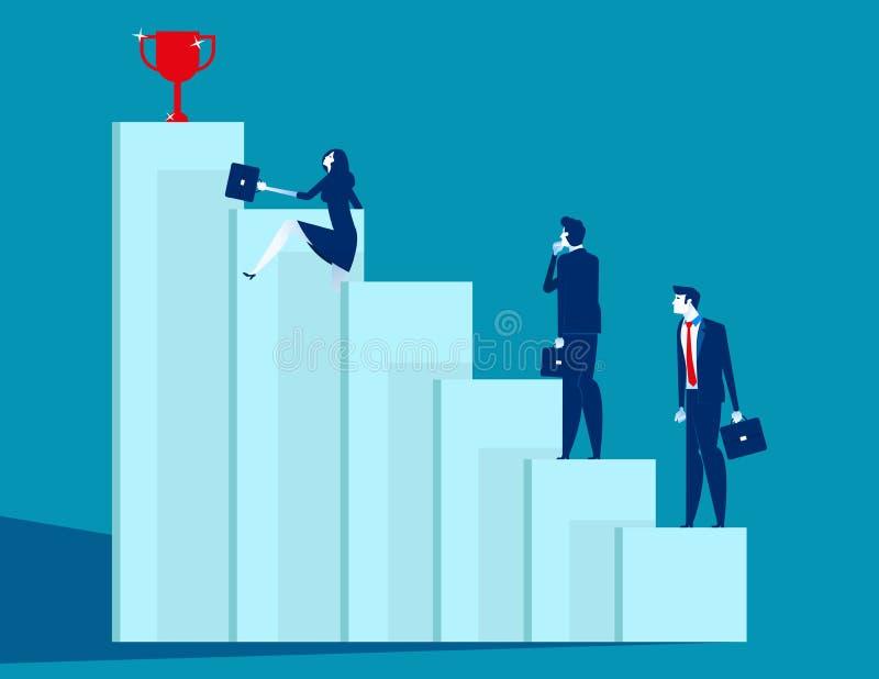 A equipe do negócio supera obstáculos e consegue o sucesso Ilustração do vetor do negócio do conceito, estratégia, desenhos anima ilustração do vetor