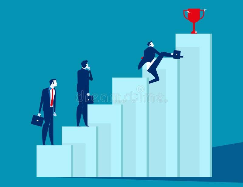 A equipe do negócio supera obstáculos e consegue o sucesso Ilustração do vetor do negócio do conceito, estratégia, desenhos anima ilustração stock