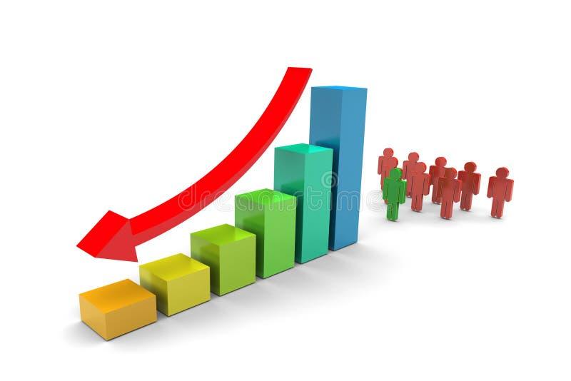 A equipe do negócio tende para baixo o gráfico de barras ilustração do vetor