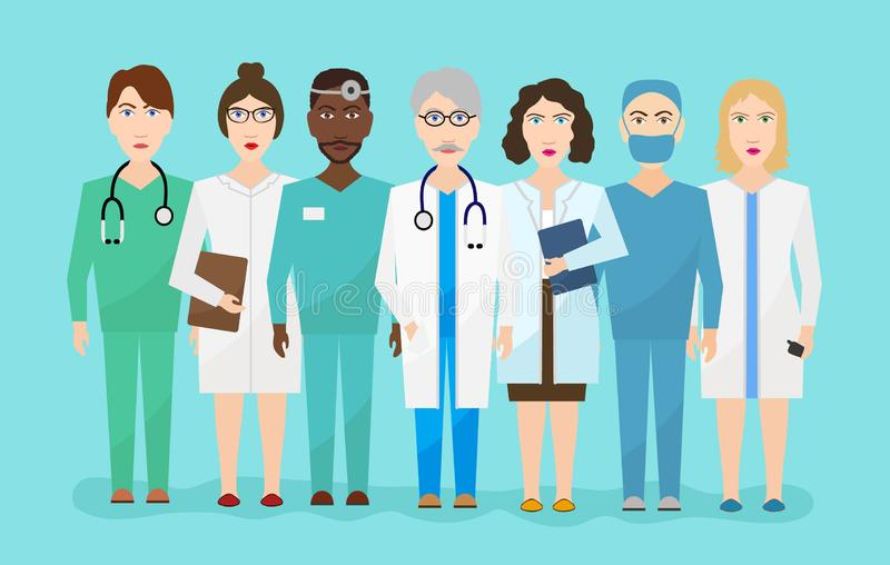 A equipe do pessoal médico do hospital medica o plano do vetor do cirurgião das enfermeiras mim ilustração stock