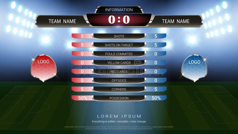 A equipe A do placar do futebol contra a equipe B e stats global transmitiu o molde gráfico do futebol, para sua apresentação do  ilustração royalty free