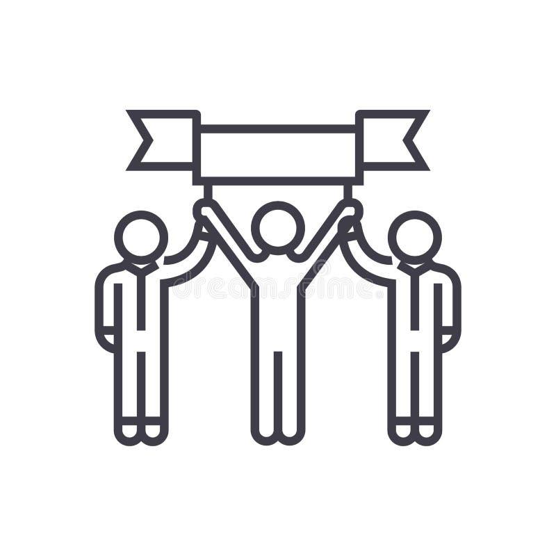 A equipe do vencedor, realização pessoal, missão realizou a linha ícone do vetor, sinal, ilustração no fundo, editável ilustração stock