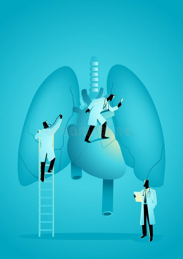 A equipe dos doutores diagnostica o pulmão e o coração humanos ilustração royalty free