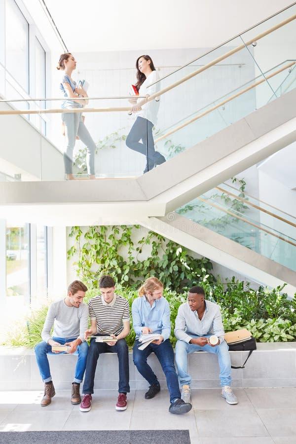 Equipe dos estudantes que senta-se junto na universidade imagem de stock