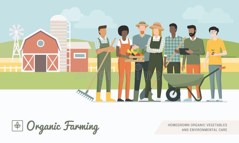 Equipe dos fazendeiros que trabalha junto ilustração royalty free