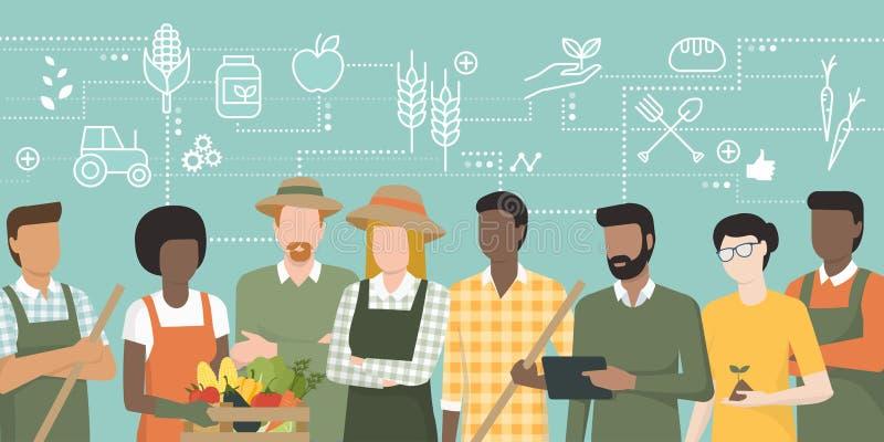 Equipe dos fazendeiros que trabalham junto ilustração do vetor