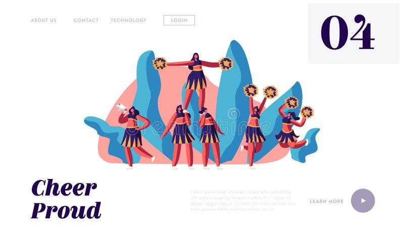 A equipe dos líder da claque no uniforme faz a pirâmide na competição de esportes Estudante Girls Performing Dance para apoiar de ilustração do vetor