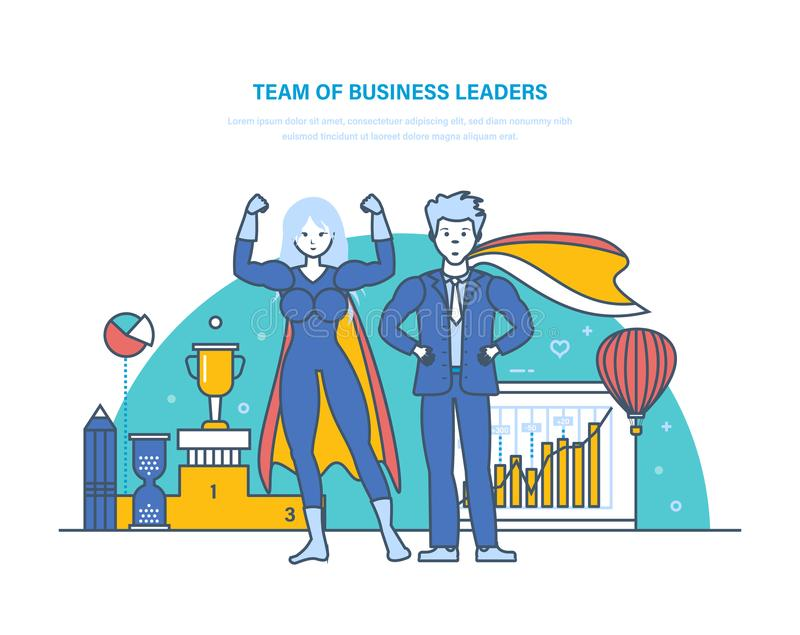 Equipe dos líderes de negócio Personagens de banda desenhada dos superheros Homem de negócios bem sucedido ilustração stock